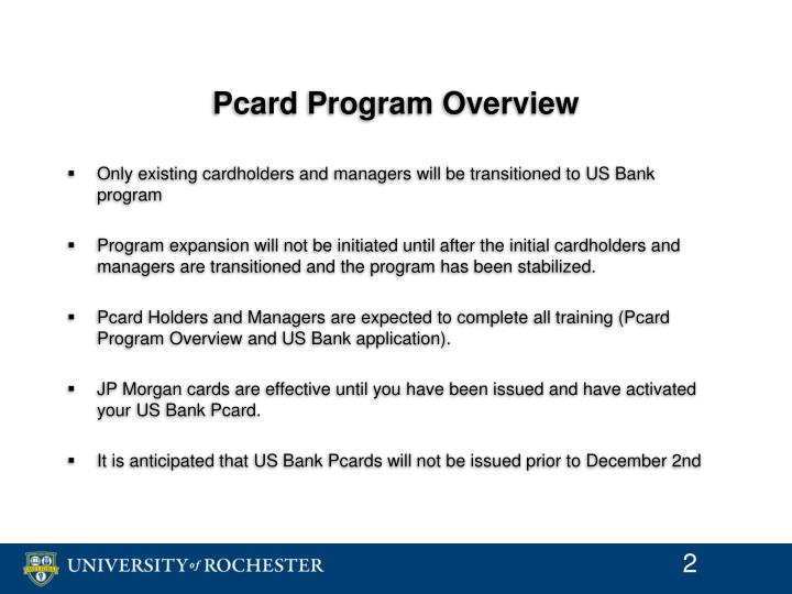 Pcard program overview