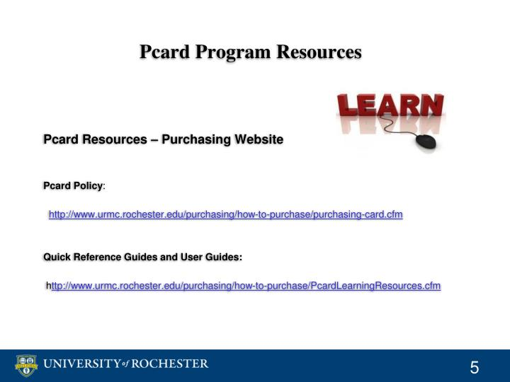 Pcard Program Resources