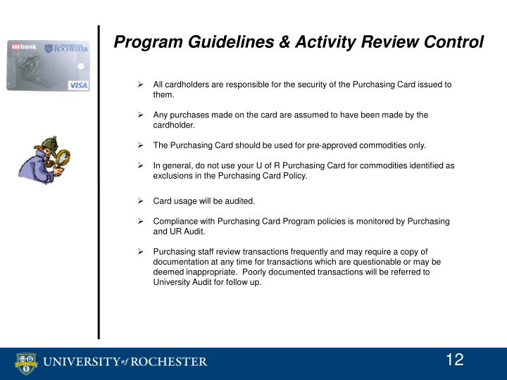 Program Guidelines & Activity Review Control