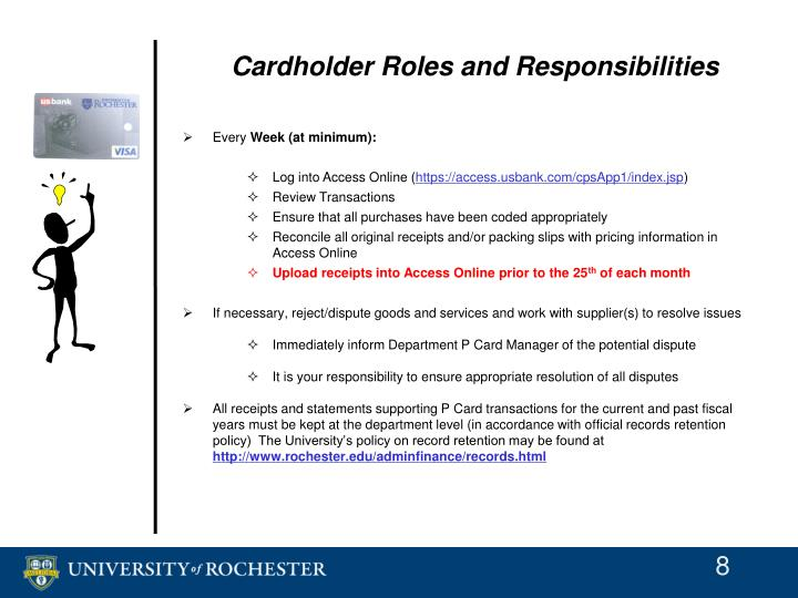 Cardholder Roles and Responsibilities