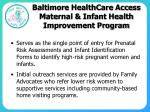 baltimore healthcare access maternal infant health improvement program