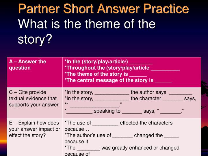Partner Short Answer Practice
