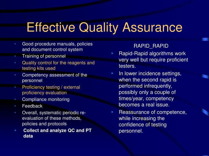 Effective Quality Assurance