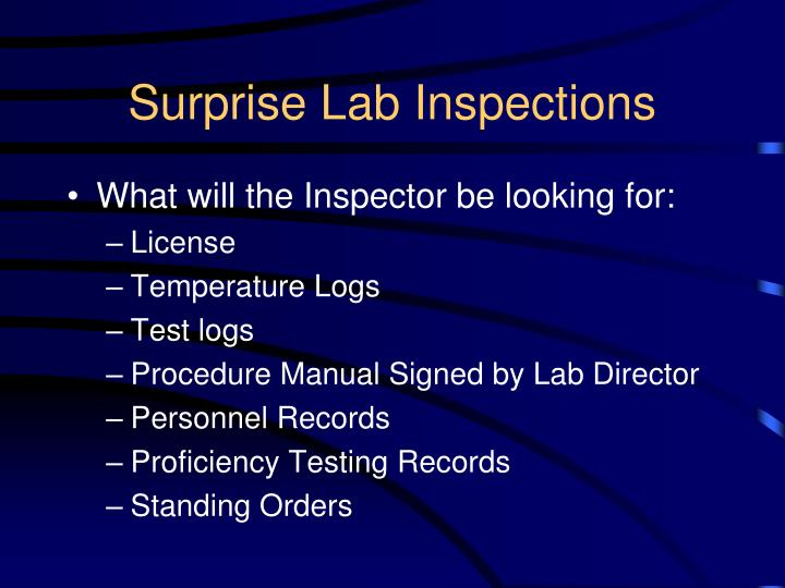 Surprise Lab Inspections