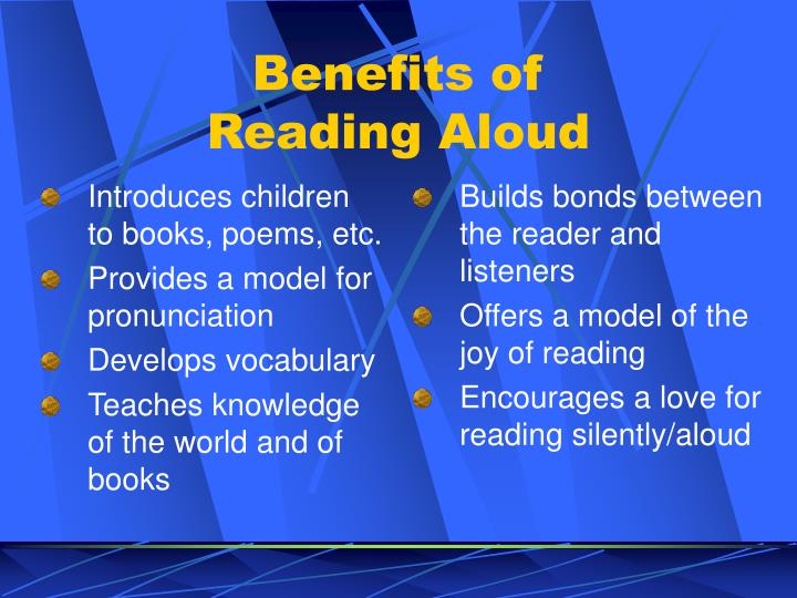 Introduces children to books, poems, etc.