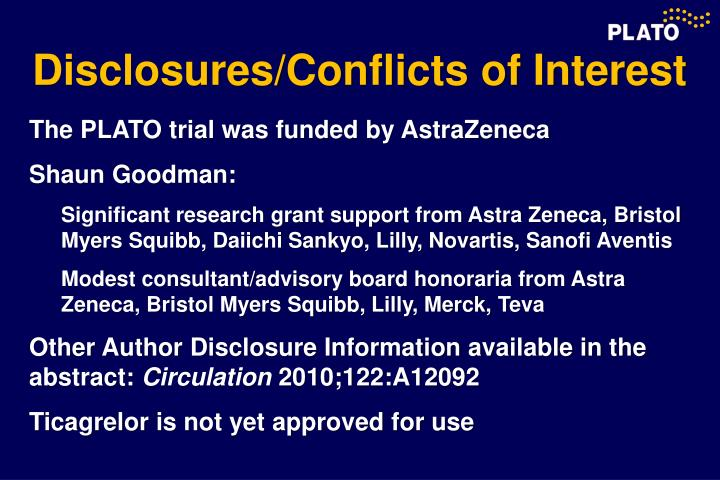 Disclosures/Conflicts of Interest