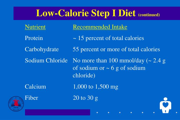 Low calorie step i diet continued