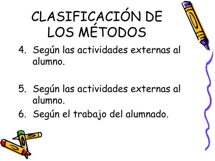 CLASIFICACIÓN DE LOS MÉTODOS