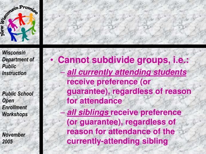 Cannot subdivide groups, i.e.: