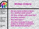 written criteria