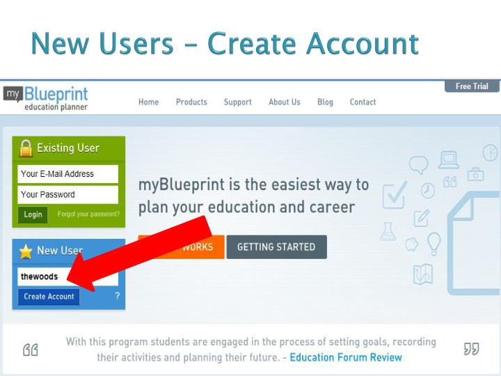 New users create account