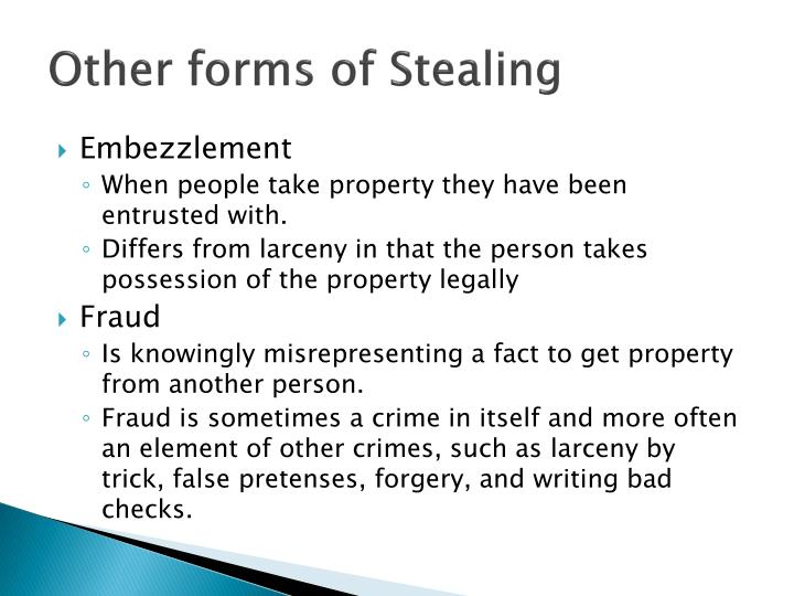 Other forms of Stealing