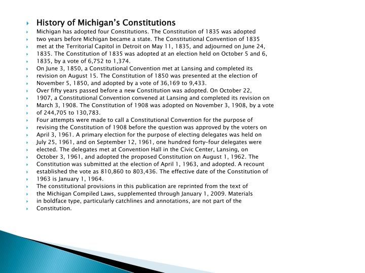 History of Michigan's Constitutions