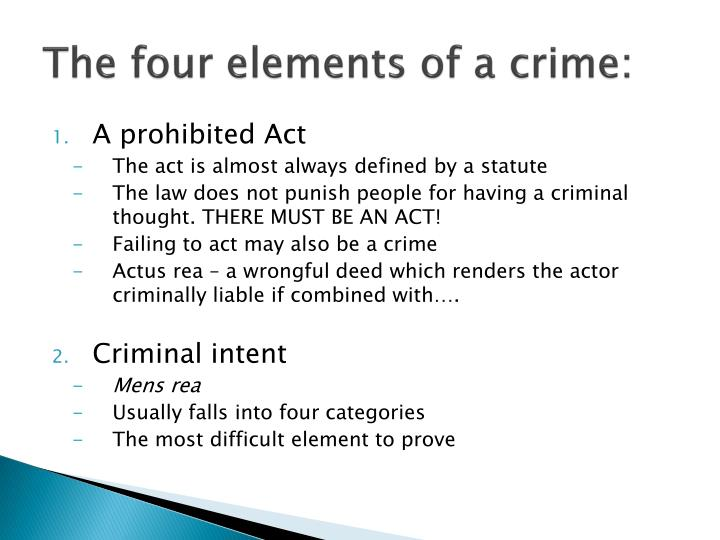 The four elements of a crime: