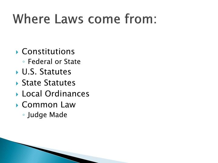 Where Laws come from: