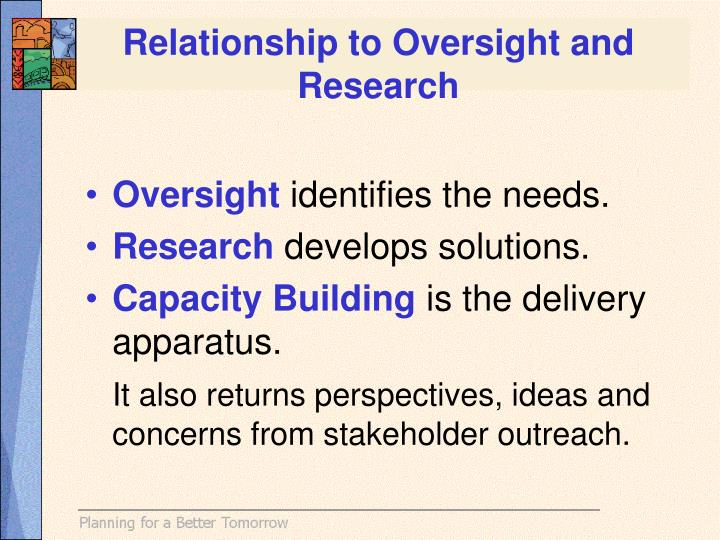 Relationship to Oversight and Research