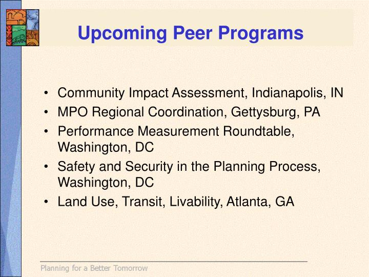 Upcoming Peer Programs