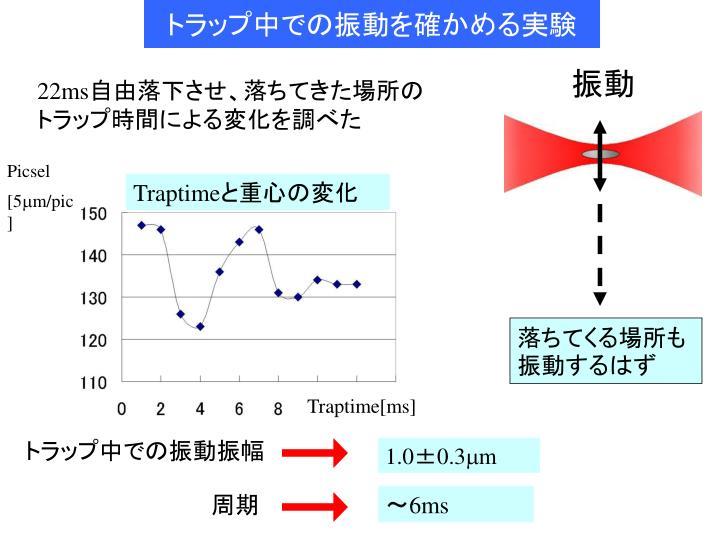 トラップ中での振動を確かめる実験