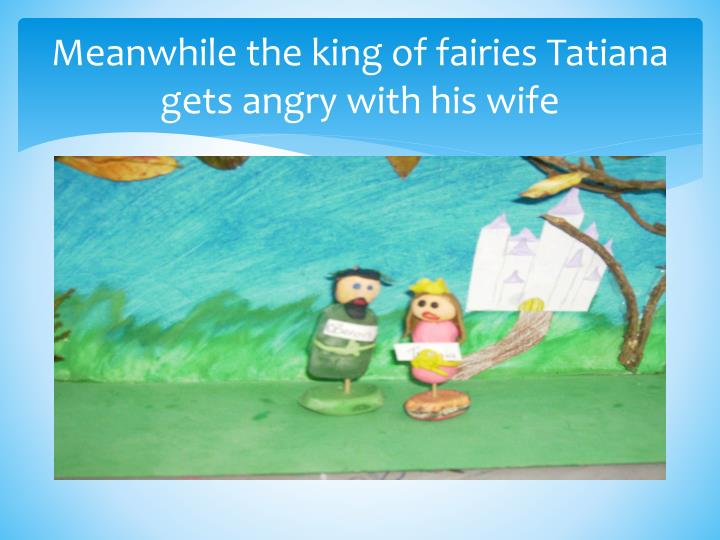 Meanwhile the king of fairies Tatiana  gets angry with his wife