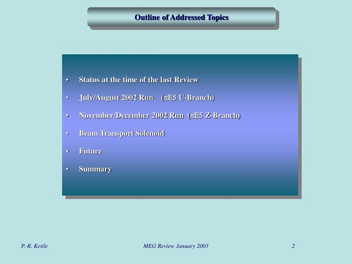 Outline of Addressed Topics