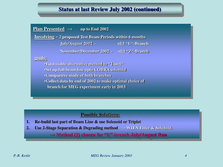 Status at last Review July 2002 (continued)