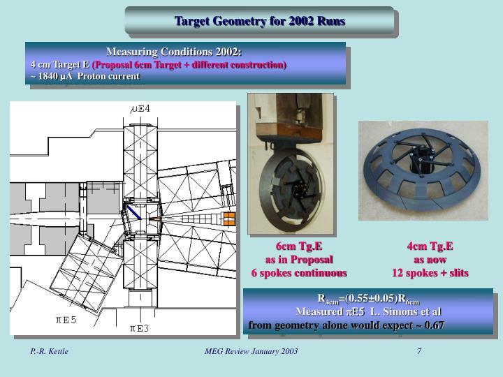 Target Geometry for 2002 Runs