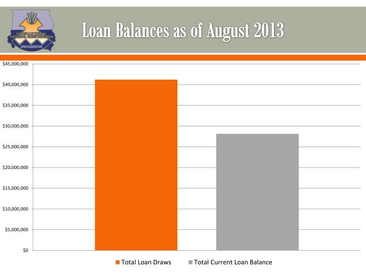 Loan Balances as of August 2013