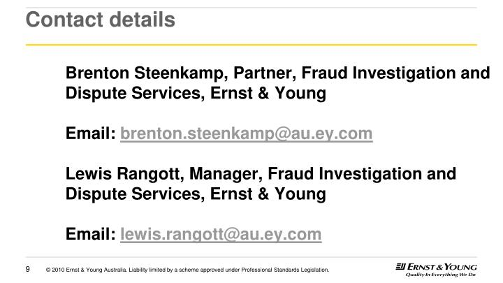 Brenton Steenkamp, Partner, Fraud Investigation and Dispute Services, Ernst & Young
