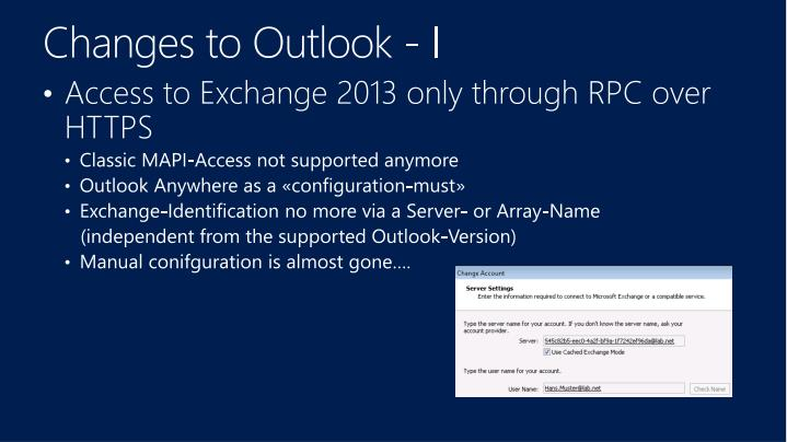 Changes to Outlook - I