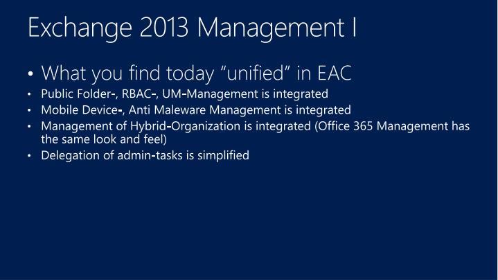 Exchange 2013 Management I