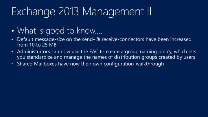 Exchange 2013 Management
