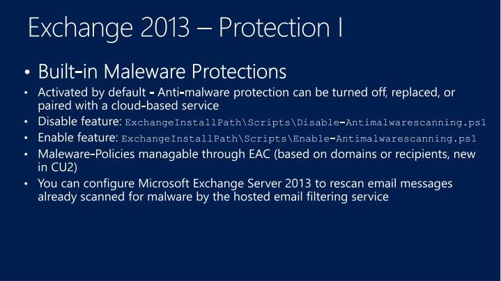 Exchange 2013 – Protection I