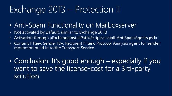 Exchange 2013 – Protection