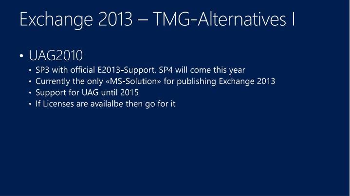 Exchange 2013 – TMG-Alternatives I