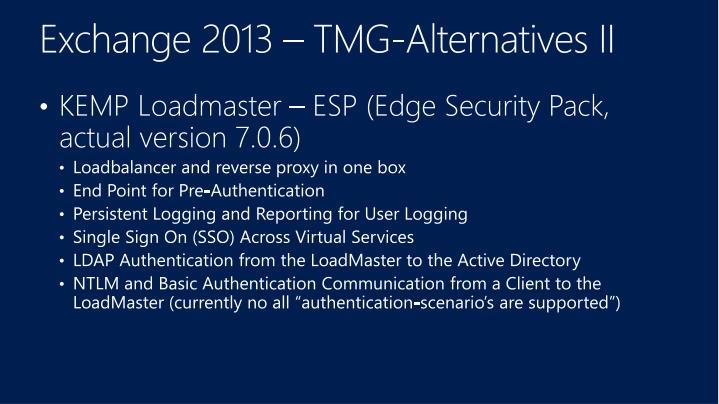 Exchange 2013 – TMG-Alternatives II