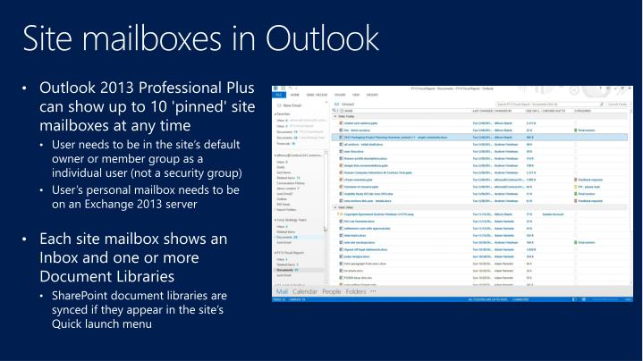Site mailboxes in Outlook