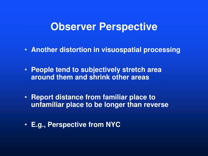 Observer perspective