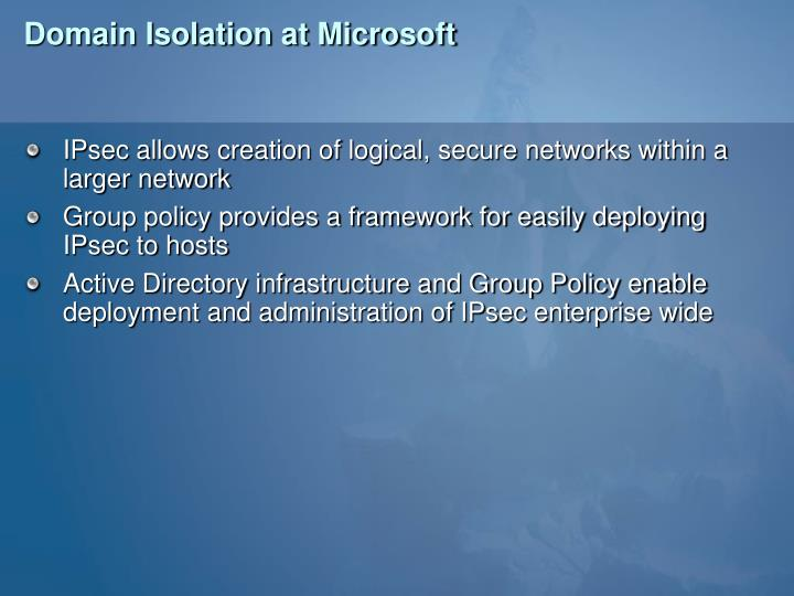 Domain Isolation at Microsoft