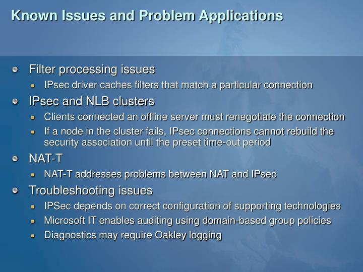 Known Issues and Problem Applications