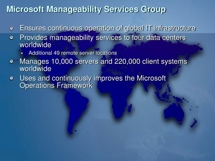 Microsoft Manageability Services Group