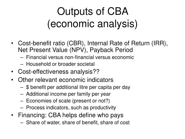 Outputs of CBA