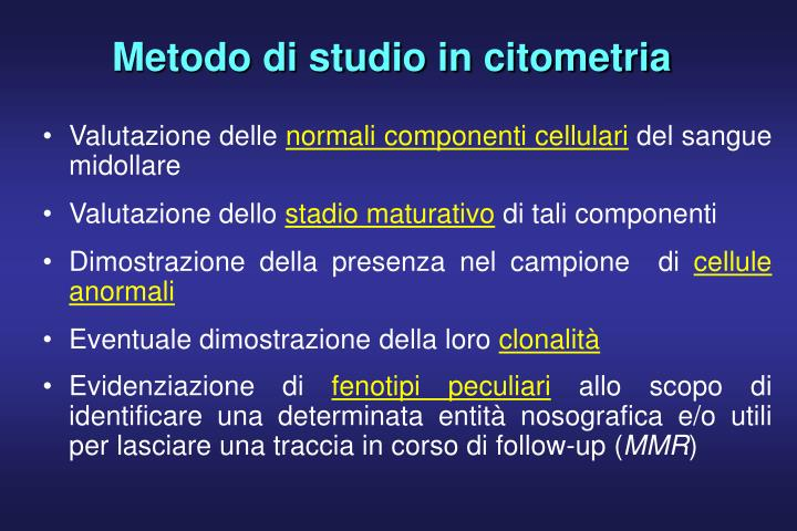 Metodo di studio in citometria