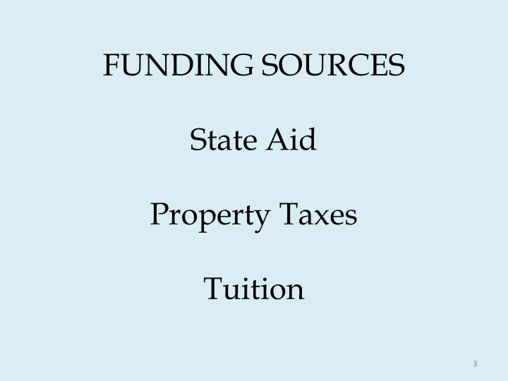 Funding sources state aid property taxes tuition