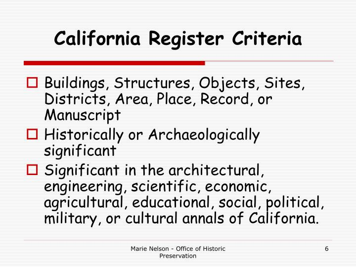 California Register Criteria