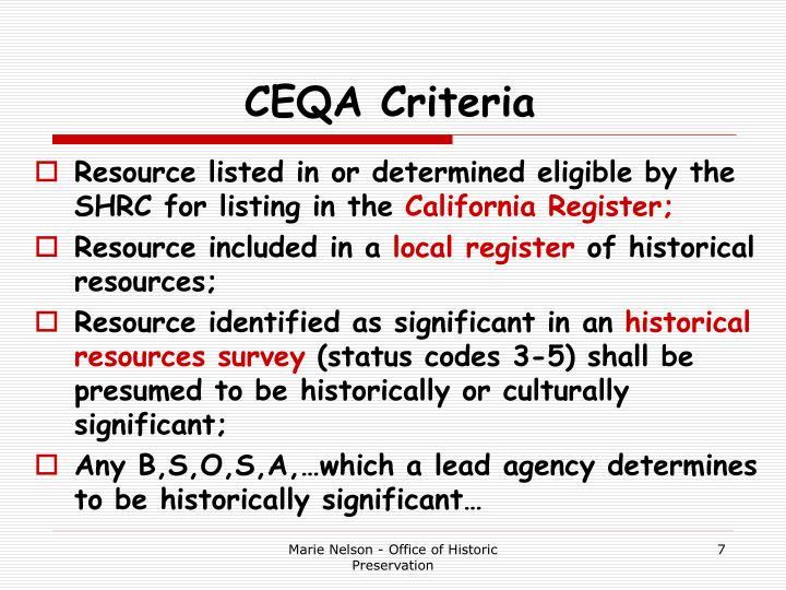 CEQA Criteria