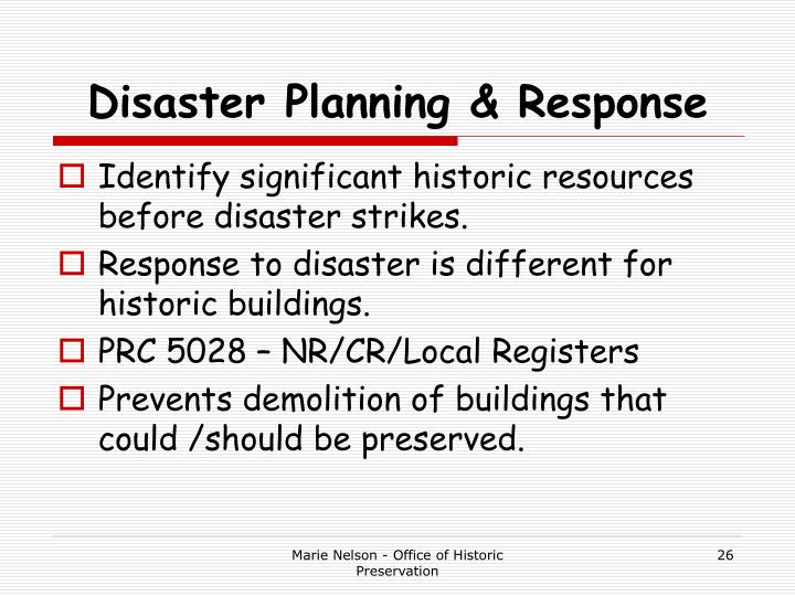 Disaster Planning & Response