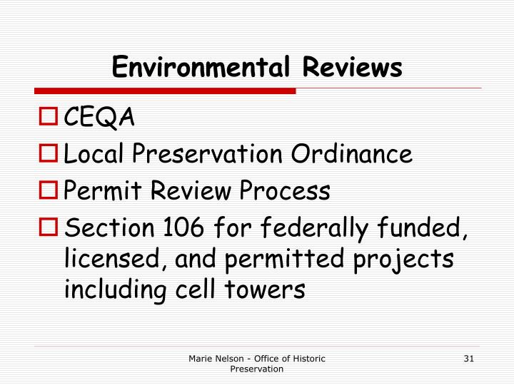 Environmental Reviews