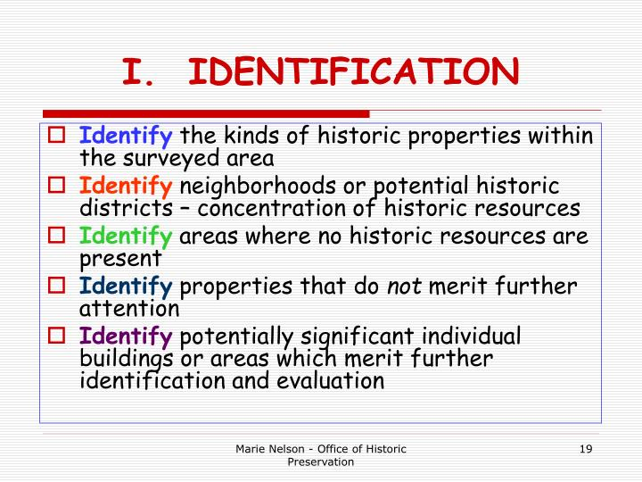 I.  IDENTIFICATION