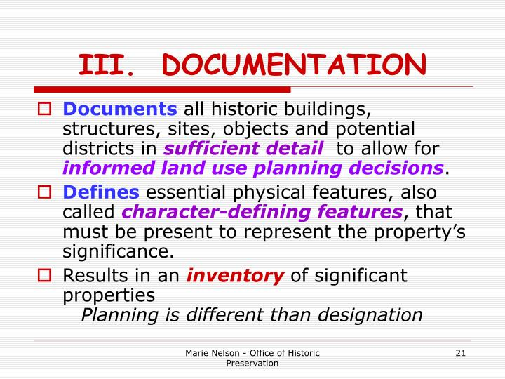 III.  DOCUMENTATION