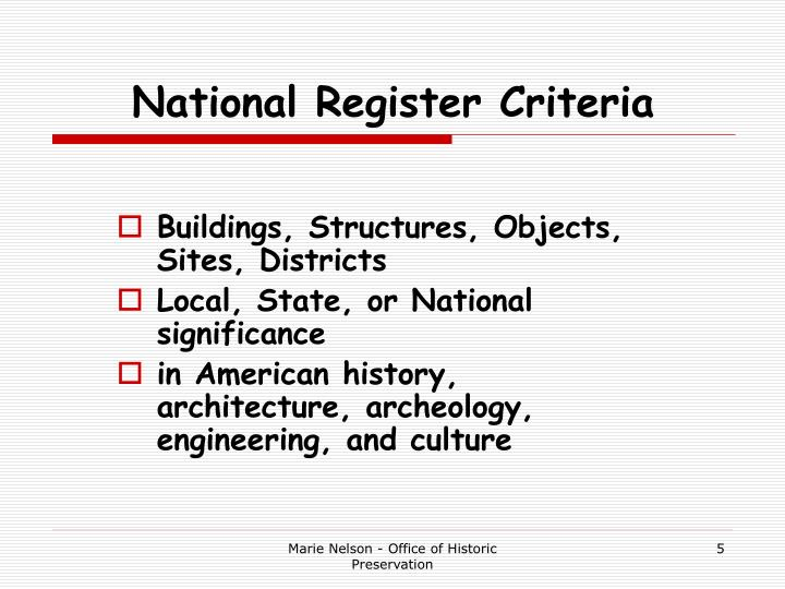 National Register Criteria